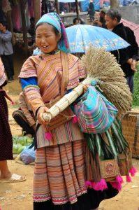 Flower HMong bergmarkt Lao Cai Vietnam