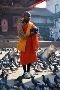 Nepal Kathmandu monnik voert duiven op Durbar Square